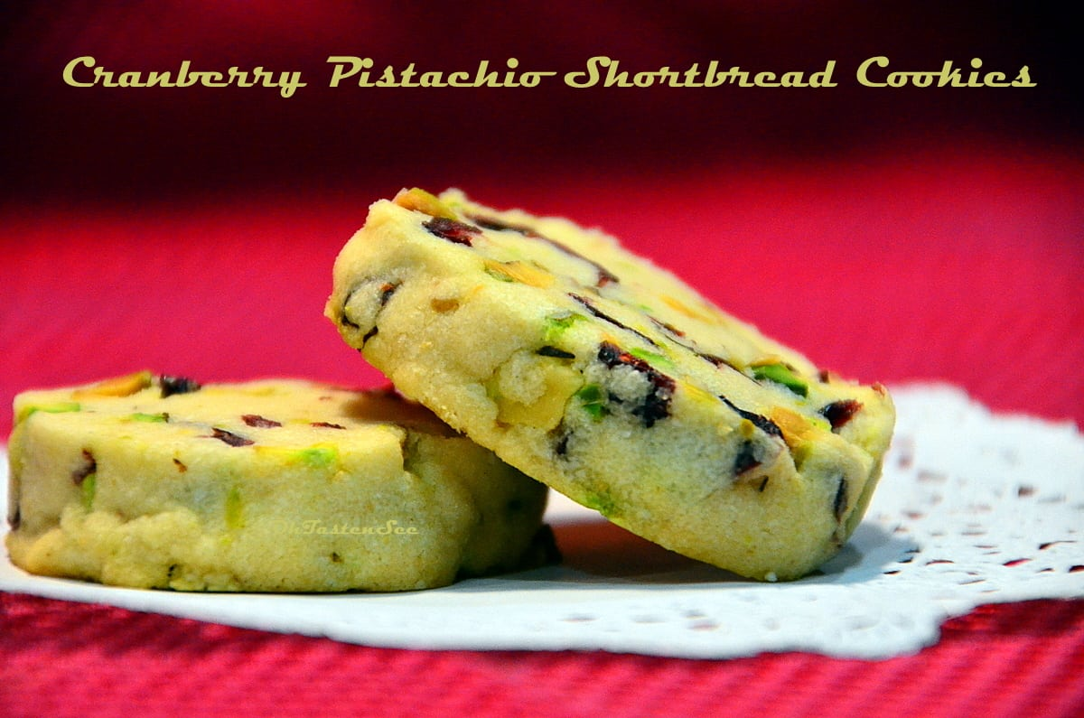 Cranberry Pistachio Shortbread Cookies