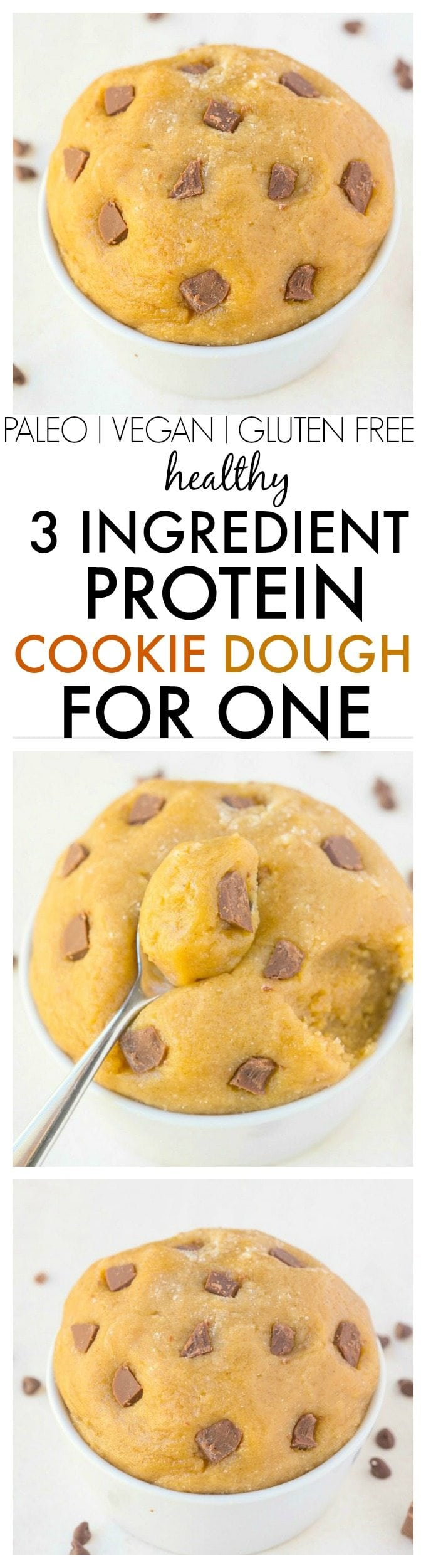 Healthy 3 Ingredient Protein Cookie Dough For One