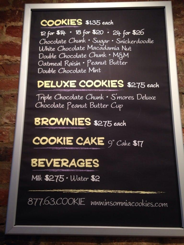 Insomnia Cookies Menu, Menu For Insomnia Cookies, Athens, Athens