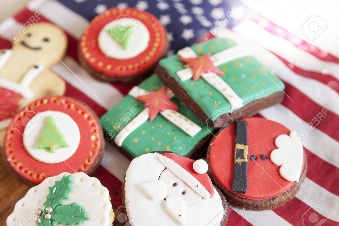 Mixed With Homemade Christmas Cookies Over An American Flag Stock