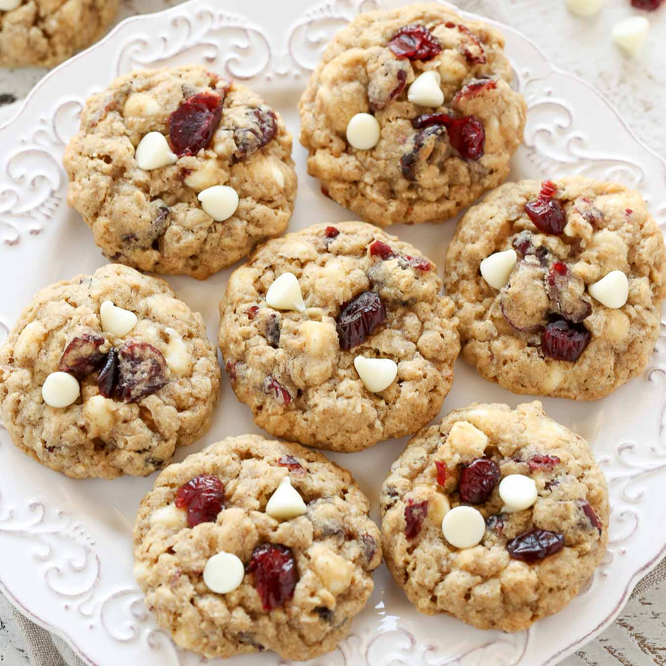 Soft And Chewy White Chocolate Cranberry Oatmeal Cookies