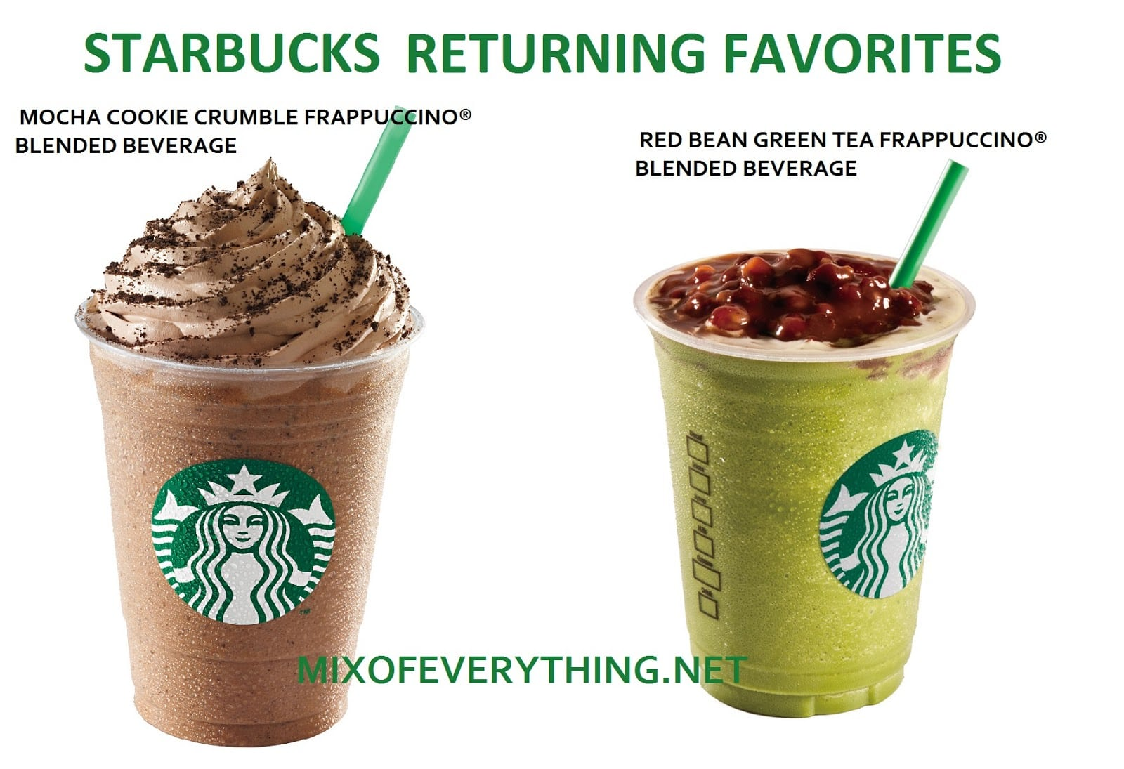 Starbucks Brings Back Mocha Cookie Crumble And Red Bean Green Tea