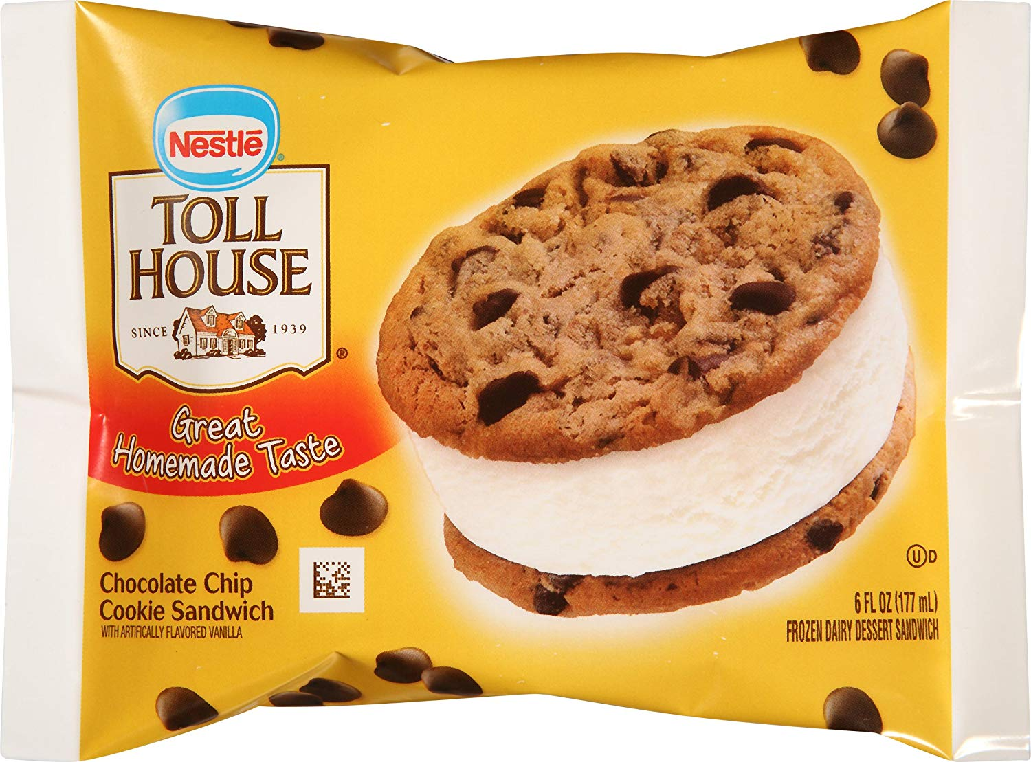 Toll House, Chocolate Chip Cookie Ice Cream Sandwich, 6 Oz (frozen