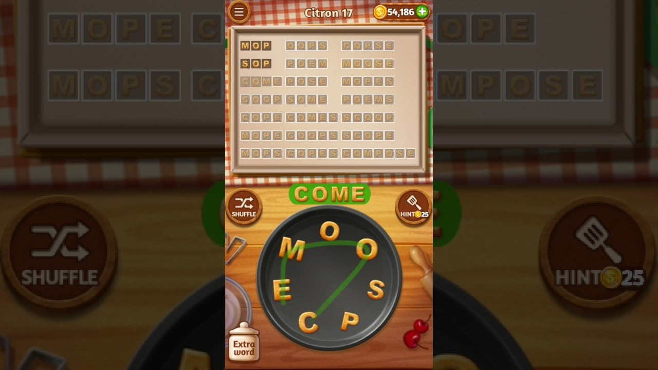 Word Cookies Citron Level 17 Best Chef Solved