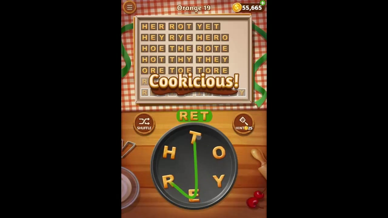 Word Cookies Orange Pack Level 19 Answers