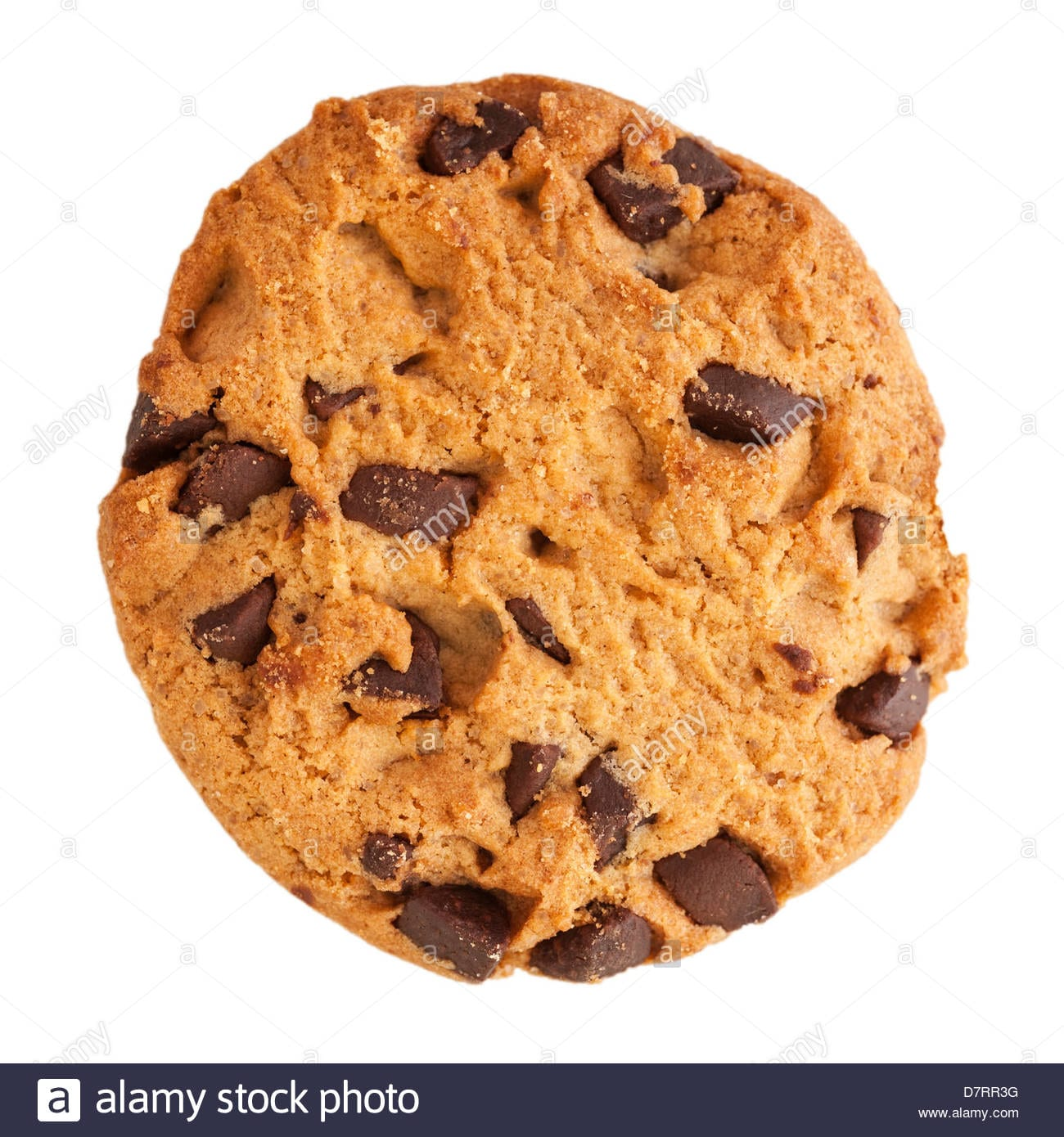 A Chocolate Choc Chip Cookie On A White Background Stock Photo