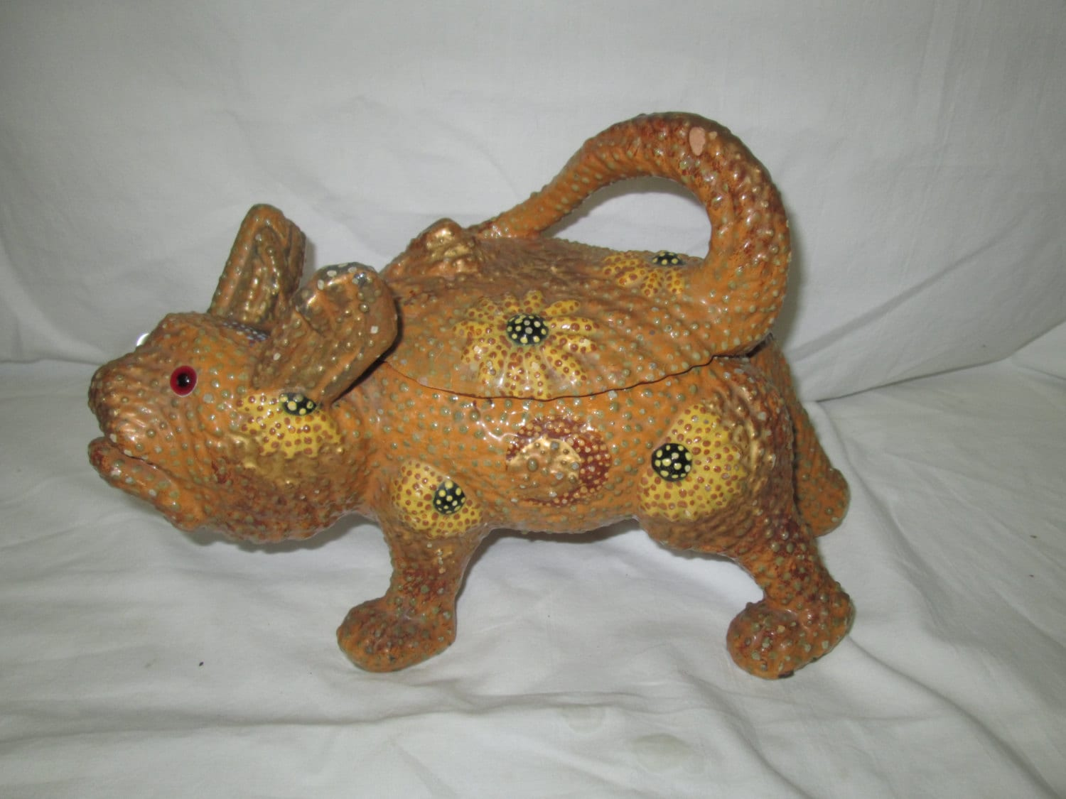A Rare Find Pottery Cat Animal Covered Container Cookie Jar
