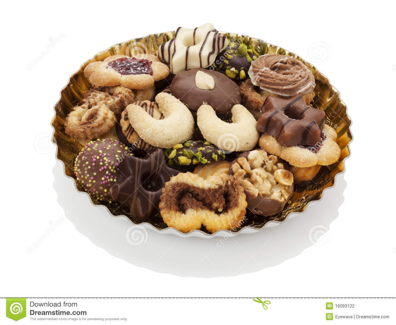 Assortment Of Christmas Cookie On A Plate Isolated Stock Photo