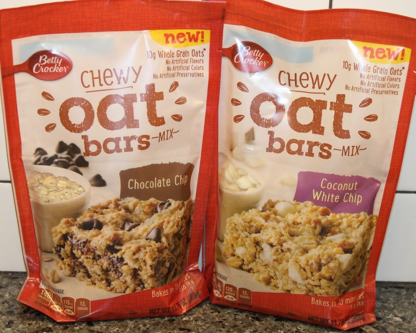 Betty Crocker Chewy Oat Bars  Chocolate Chip & Coconut White Chip