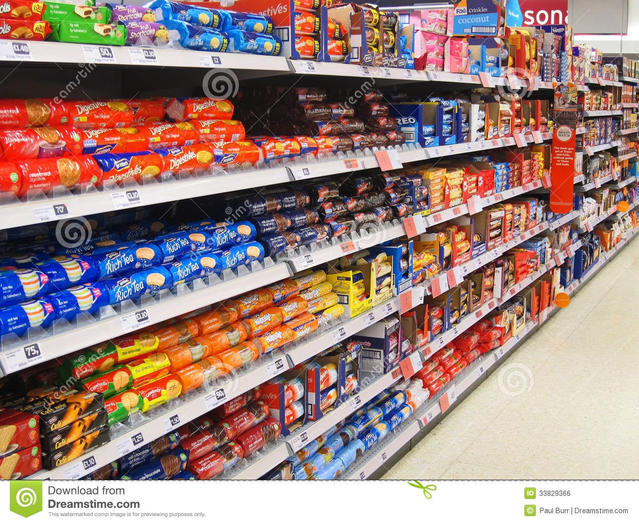 Biscuit Or Cookie Aisle In A Superstore  Editorial Photo