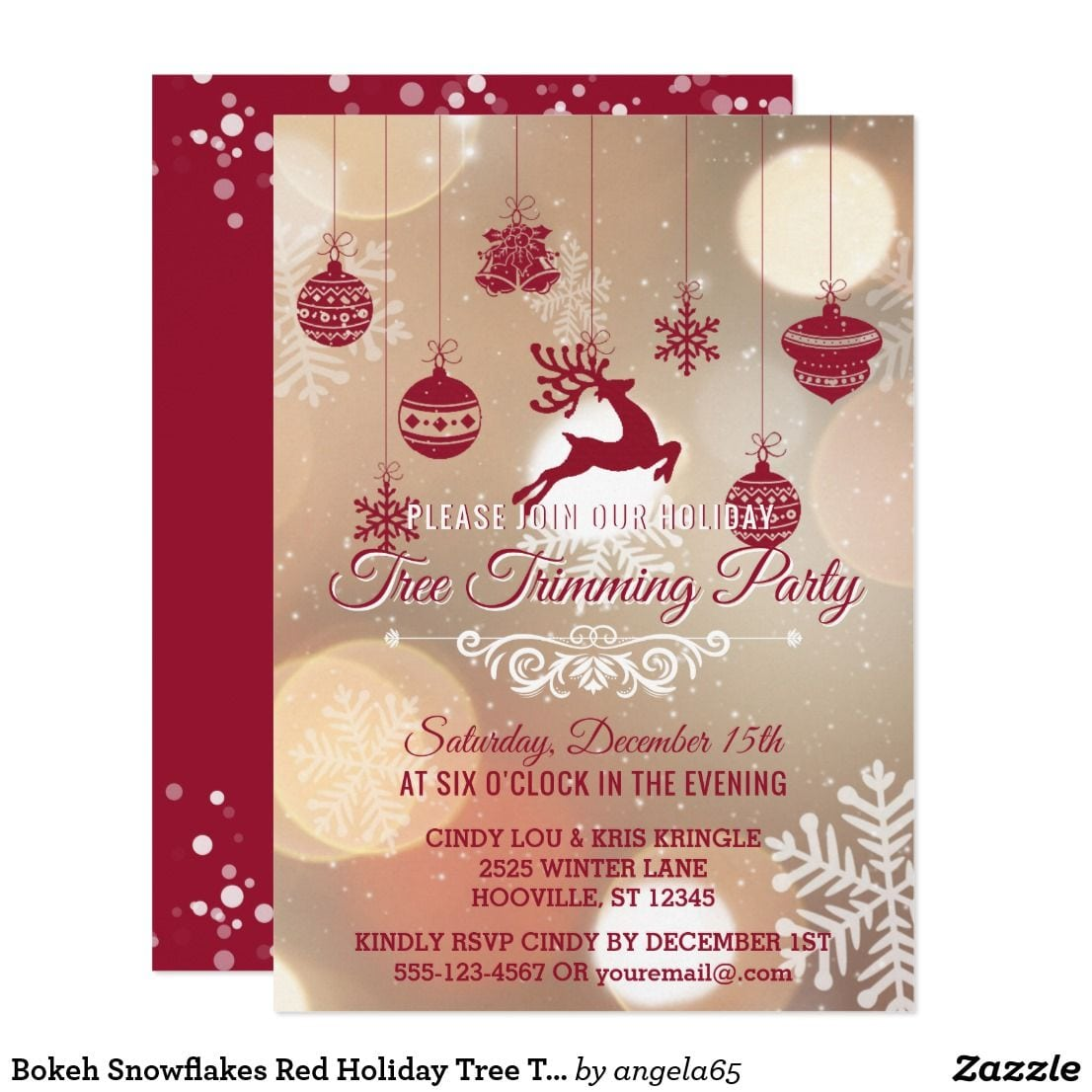 Bokeh Snowflakes Red Holiday Tree Trimming Party Card