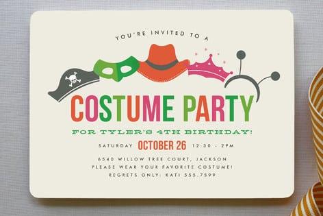 Boy Birthday Party Invitation Card Boys Invite Fancy Dress Costume