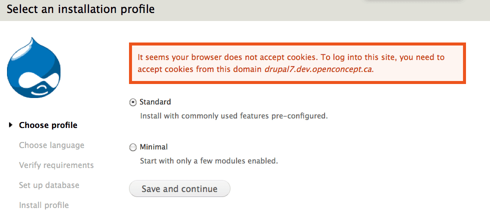 Browser Does Not Accept Cookies