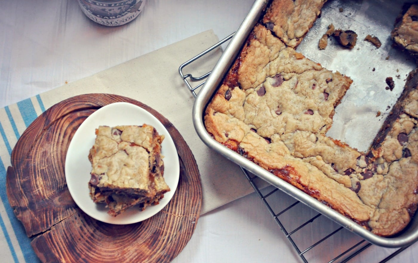 Chocolate Chip Cookie Bars With Salted Dulce De Leche By Kim Hamill