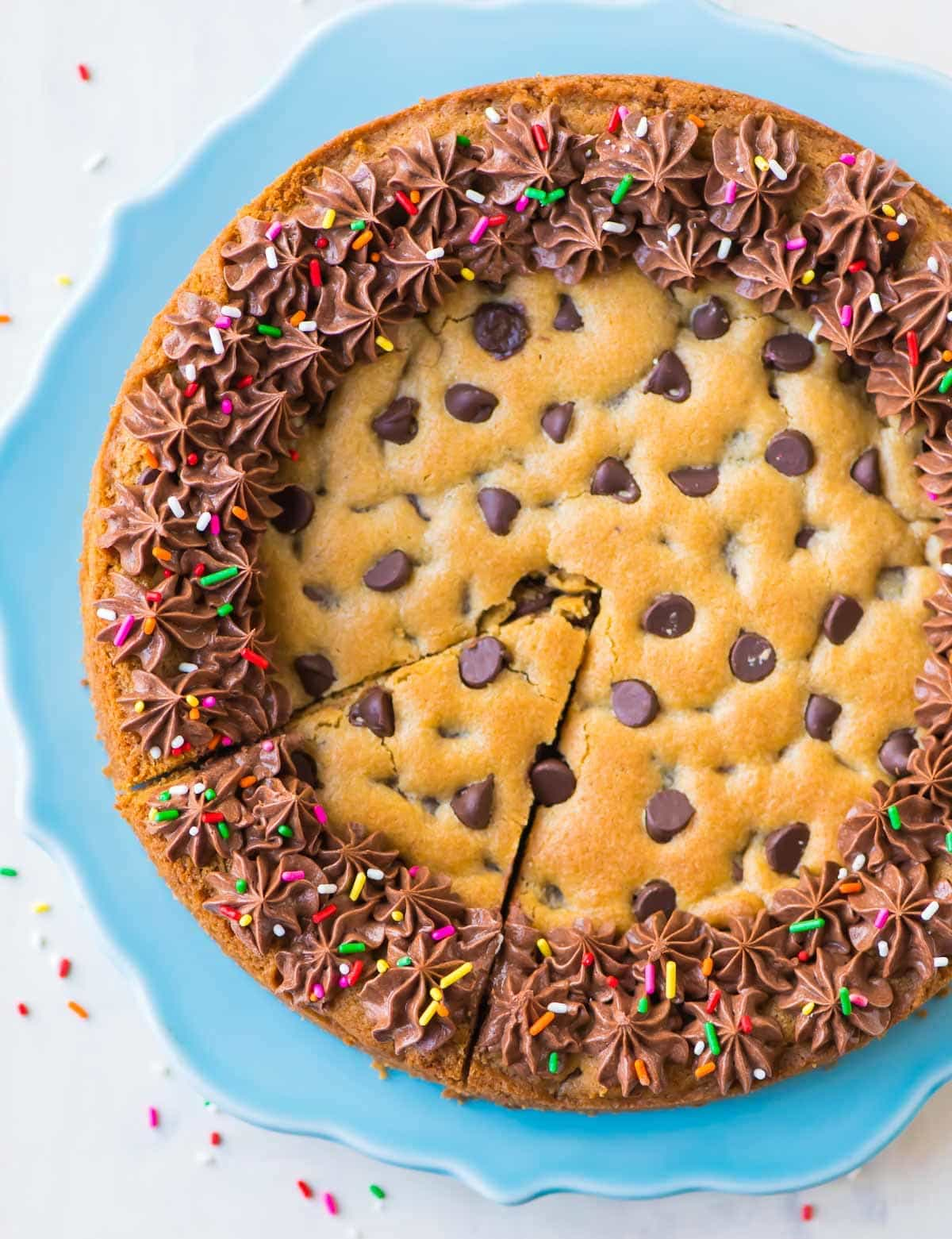 Chocolate Chip Cookie Cake Recipe With Chocolate Fudge Frosting