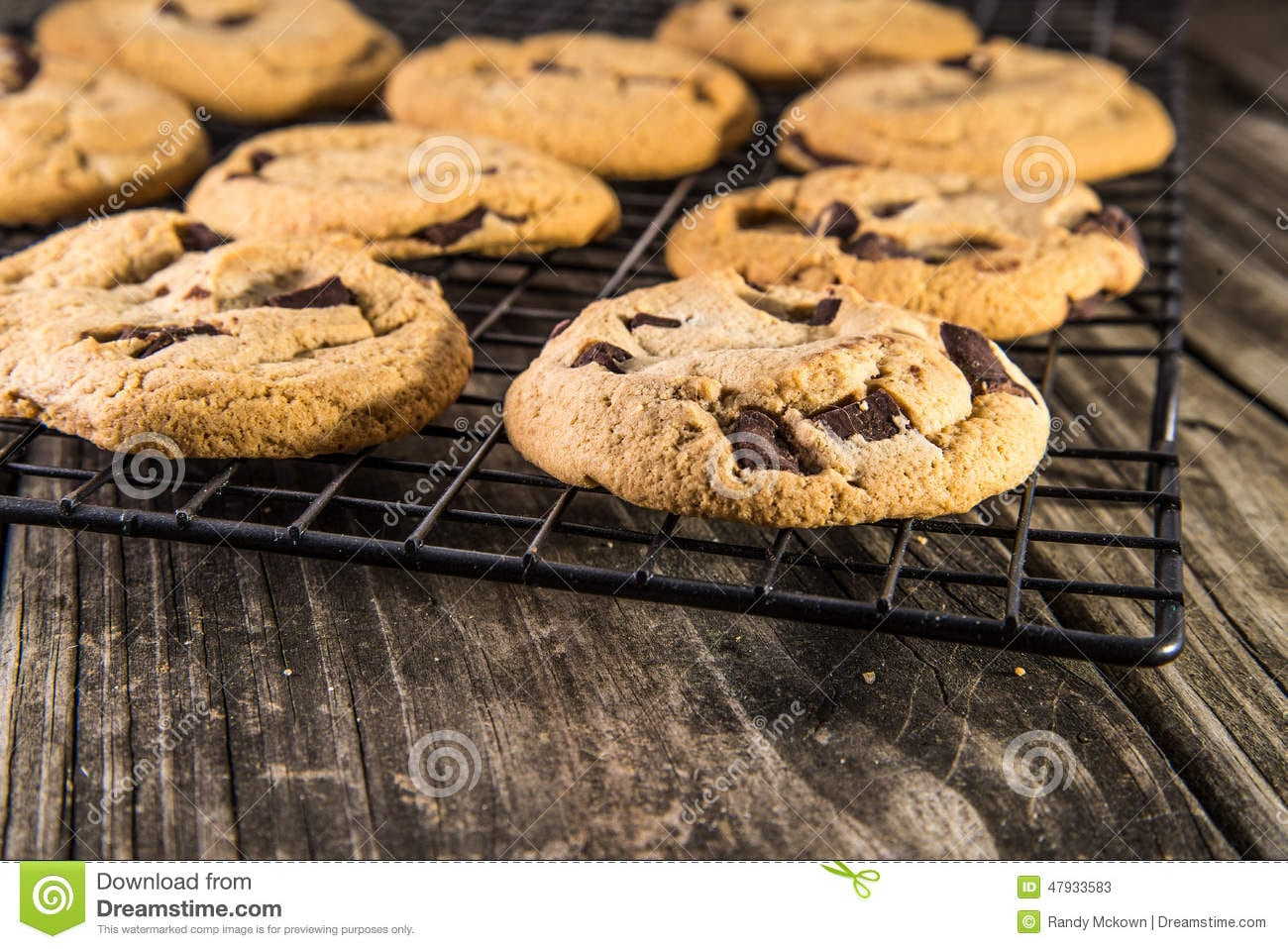Chocolate Chip Cookies On Cooling Rack Stock Image