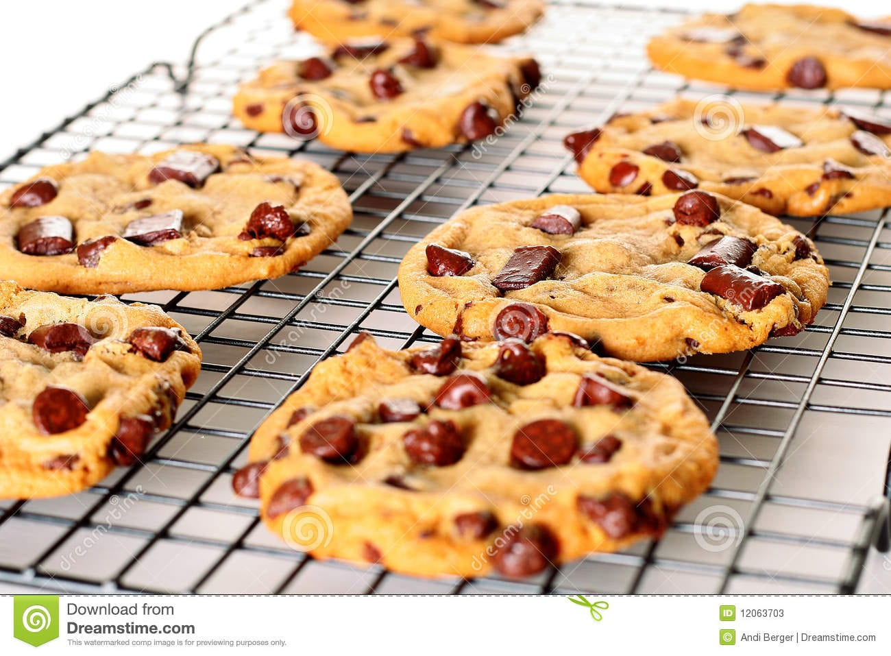 Chocolate Chip Cookies On Cooling Rack Upclose Stock Image