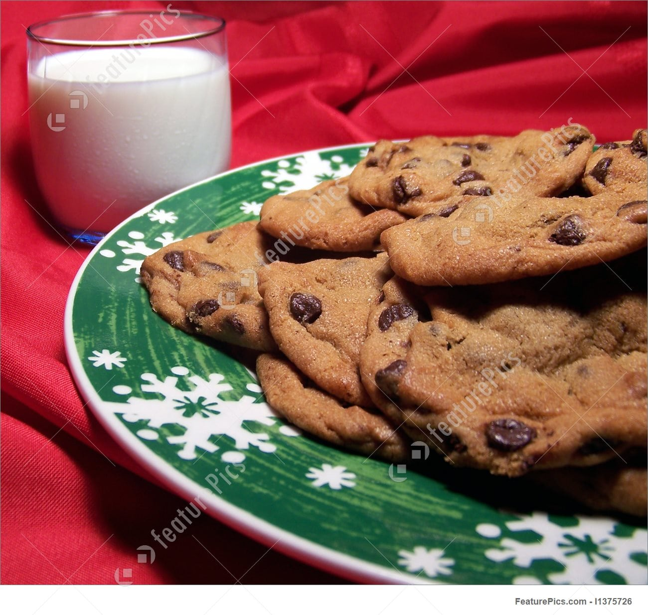 Christmas Chocolate Chip Cookies With Milk Photo