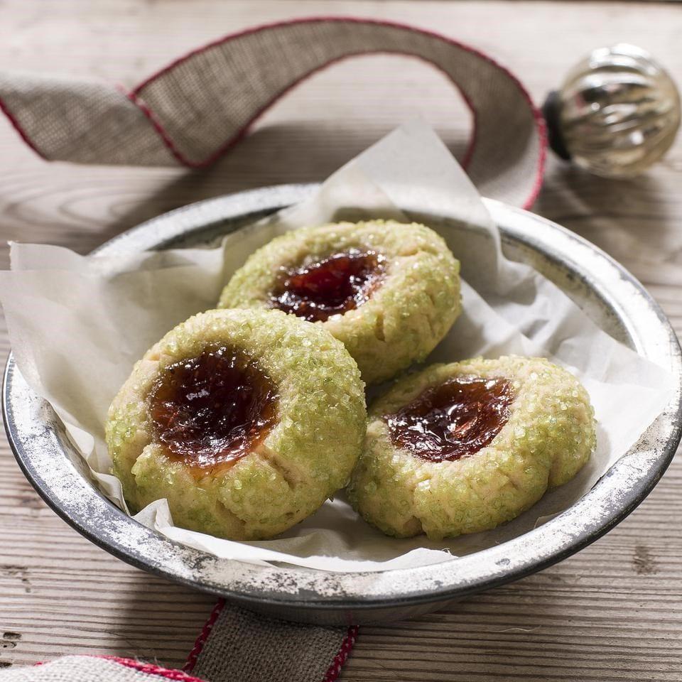 Christmas Strawberry Jam Thumbprint Cookies Recipe