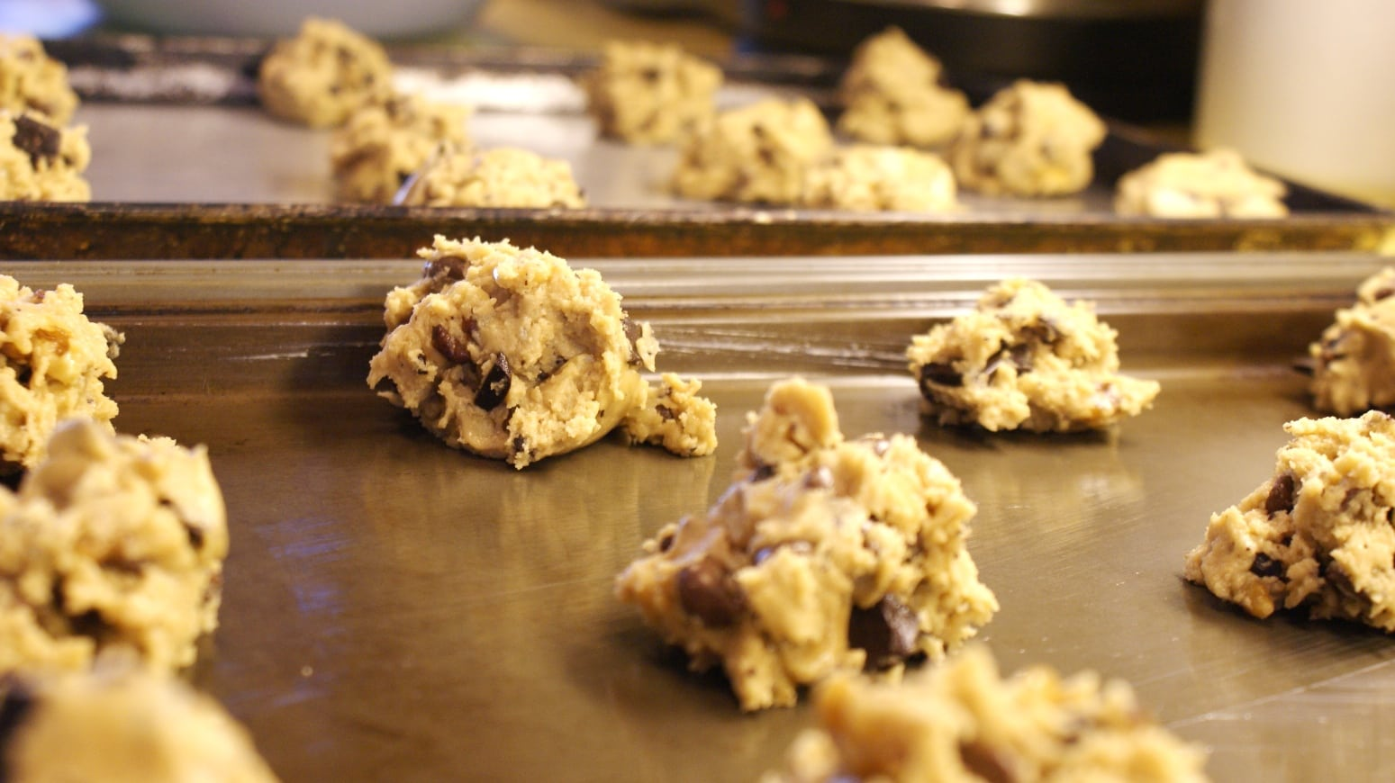 File Raw Chocolate Chip Cookie Dough On Baking Sheets Jpg