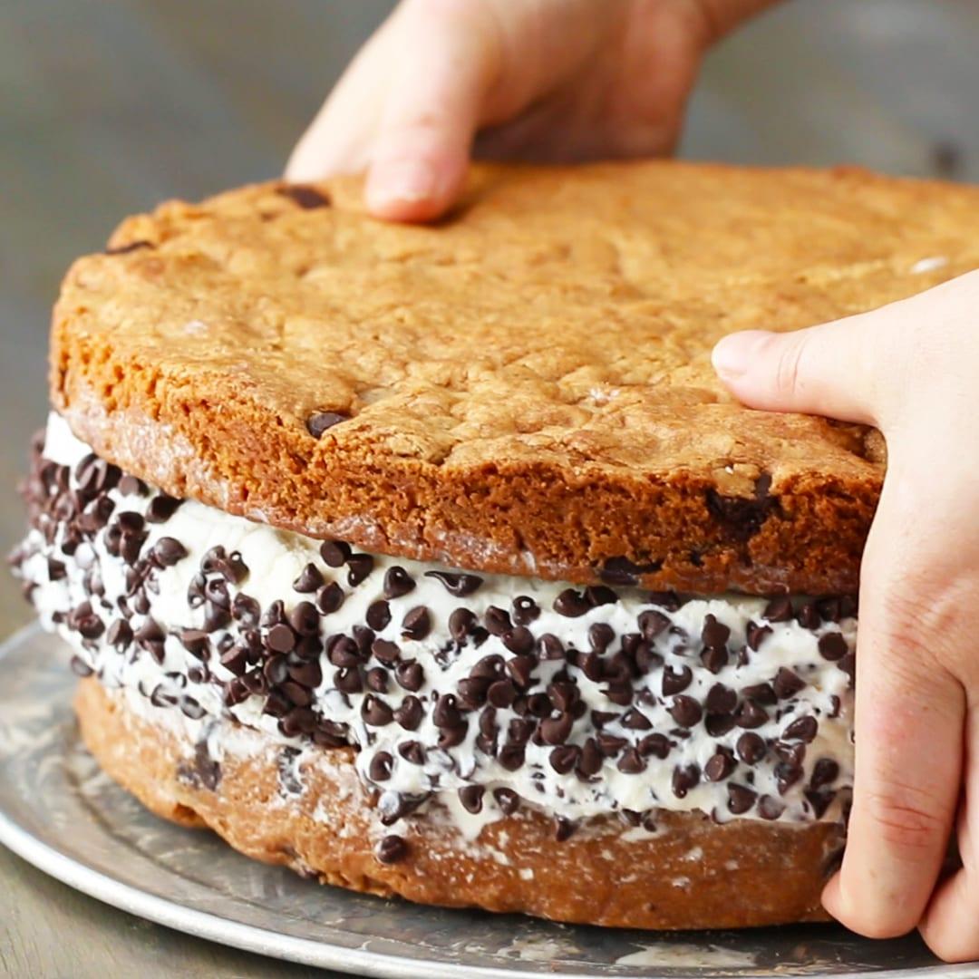 Giant Cookie Ice Cream Sandwich Recipe By Tasty