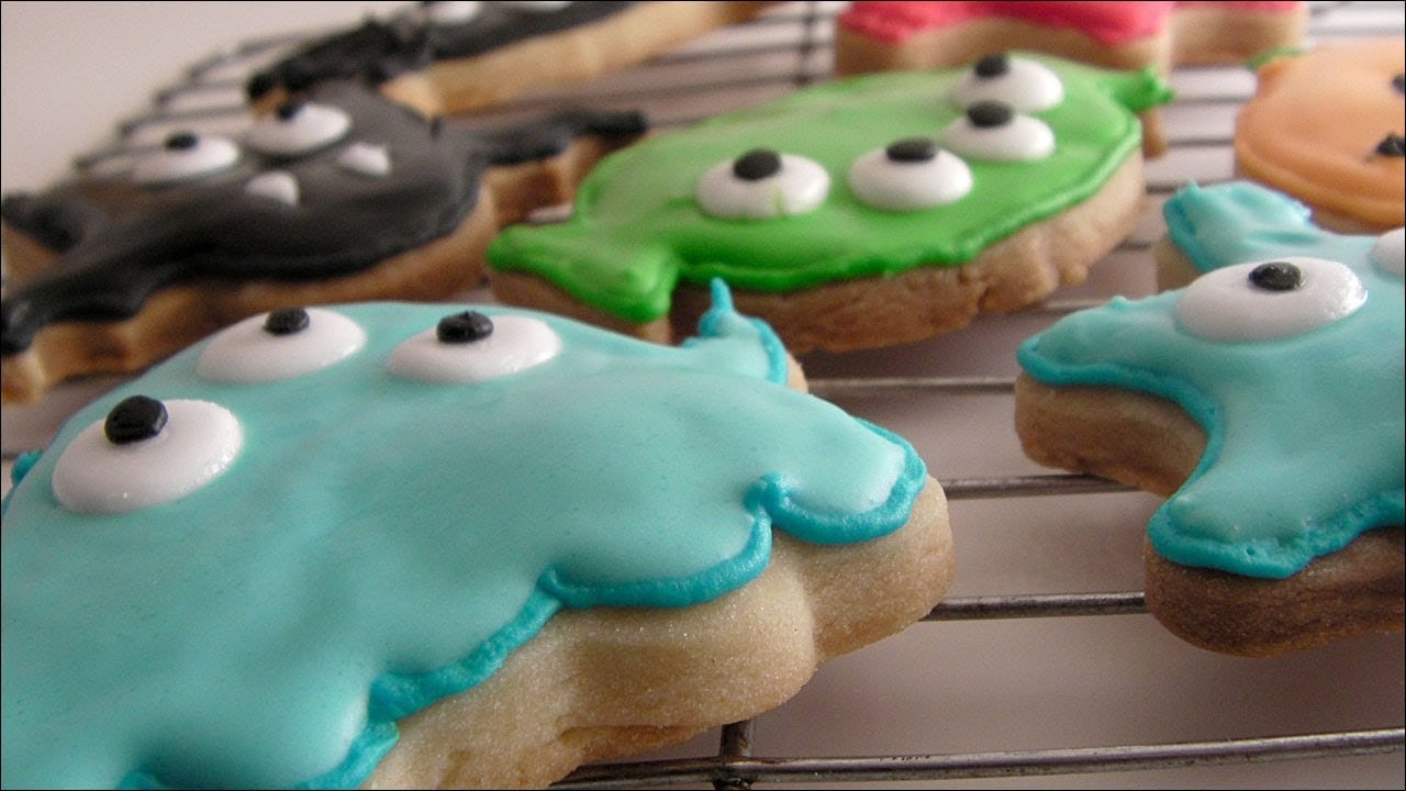 Halloween Shortbread Cookies Decorated With Flood Icing
