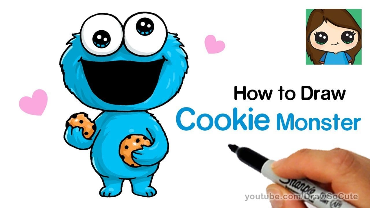 How To Draw Cookie Monster Easy And Cute
