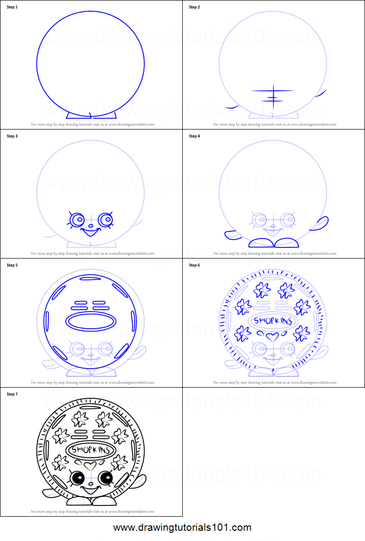 How To Draw Cream E Cookie From Shopkins Printable Step By Step