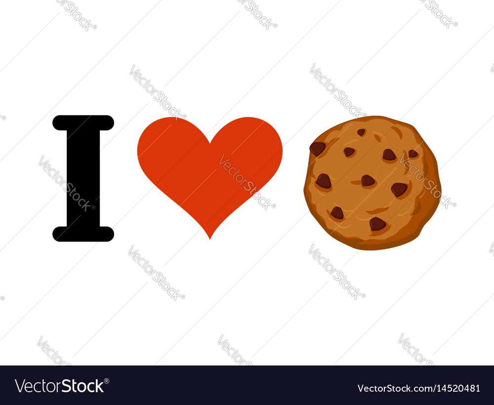 I Love Cookies Heart And Cookie Emblem For Lovers Vector Image