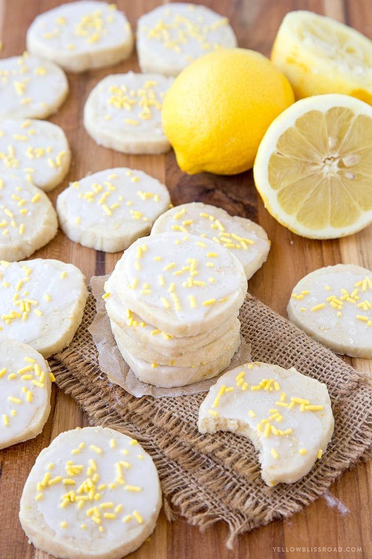 Iced Lemon Shortbread Cookies