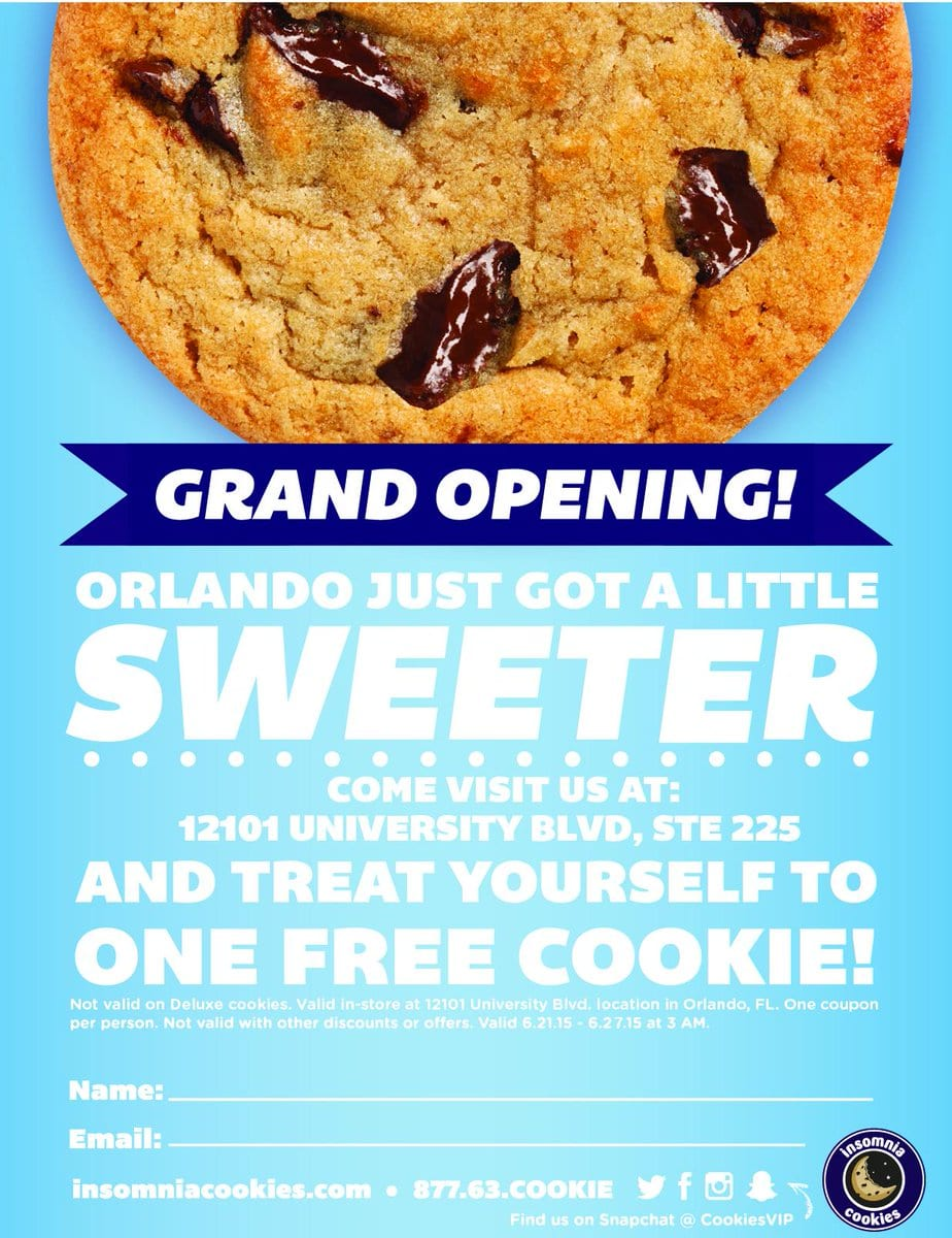 Insomnia Cookies On Twitter   Hey Orlando, To Celebrate Our