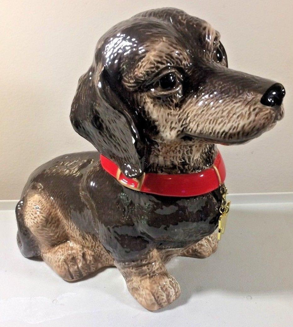 Neiman Marcus Yuyu Dachshund Dog Cookie Jar With Butterfly Dog Tag
