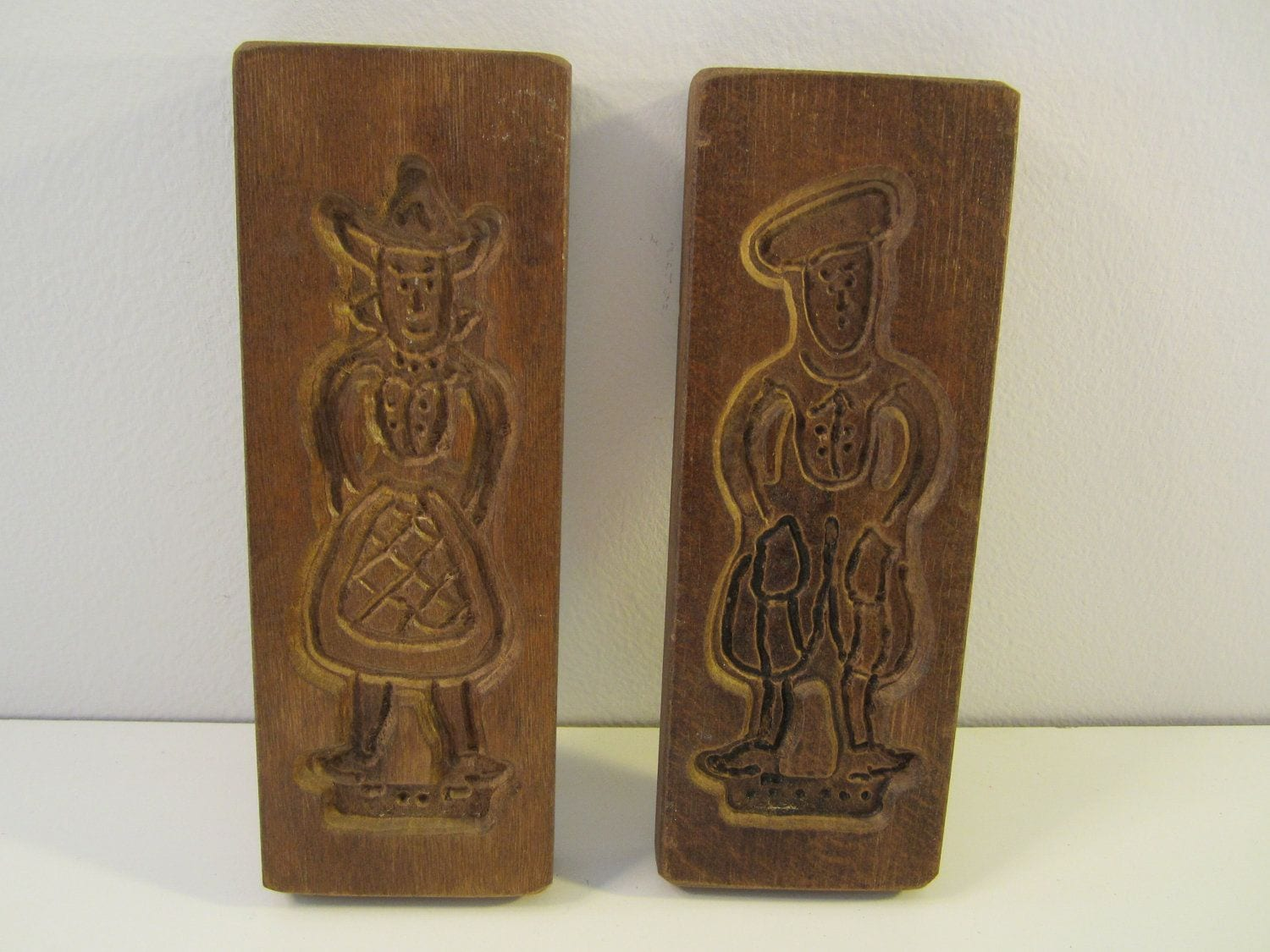 Pair Of Vintage Wooden Cookie Molds Man Woman  $12 00, Via Etsy