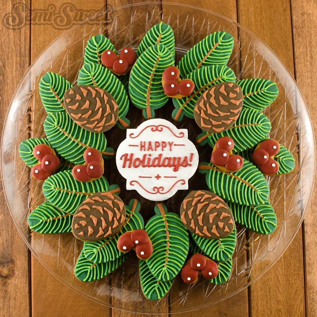 Pine Wreath And Berries Decorated Christmas Cookie Platter! The