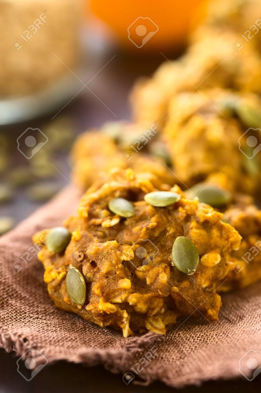 Pumpkin And Oatmeal Drop Cookies With Pumpkin Seeds On Top