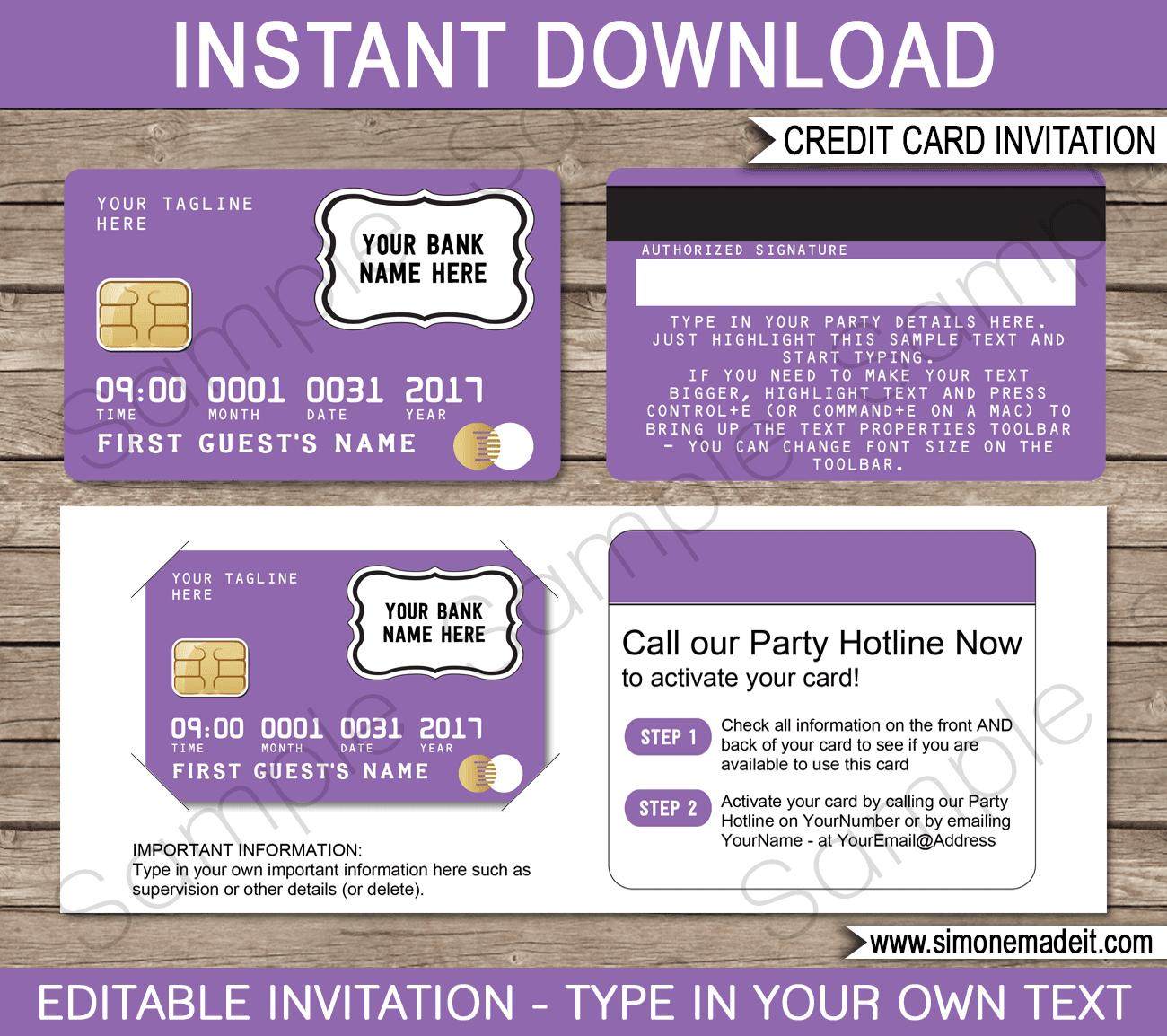 Purple Credit Card Invitations