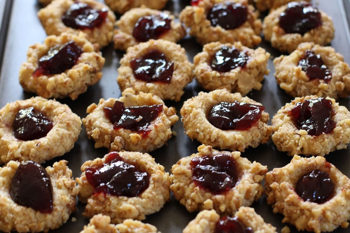 Raspberry And Almond Thumbprint Cookies