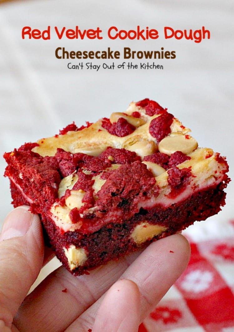 Red Velvet Cookie Dough Cheesecake Brownies