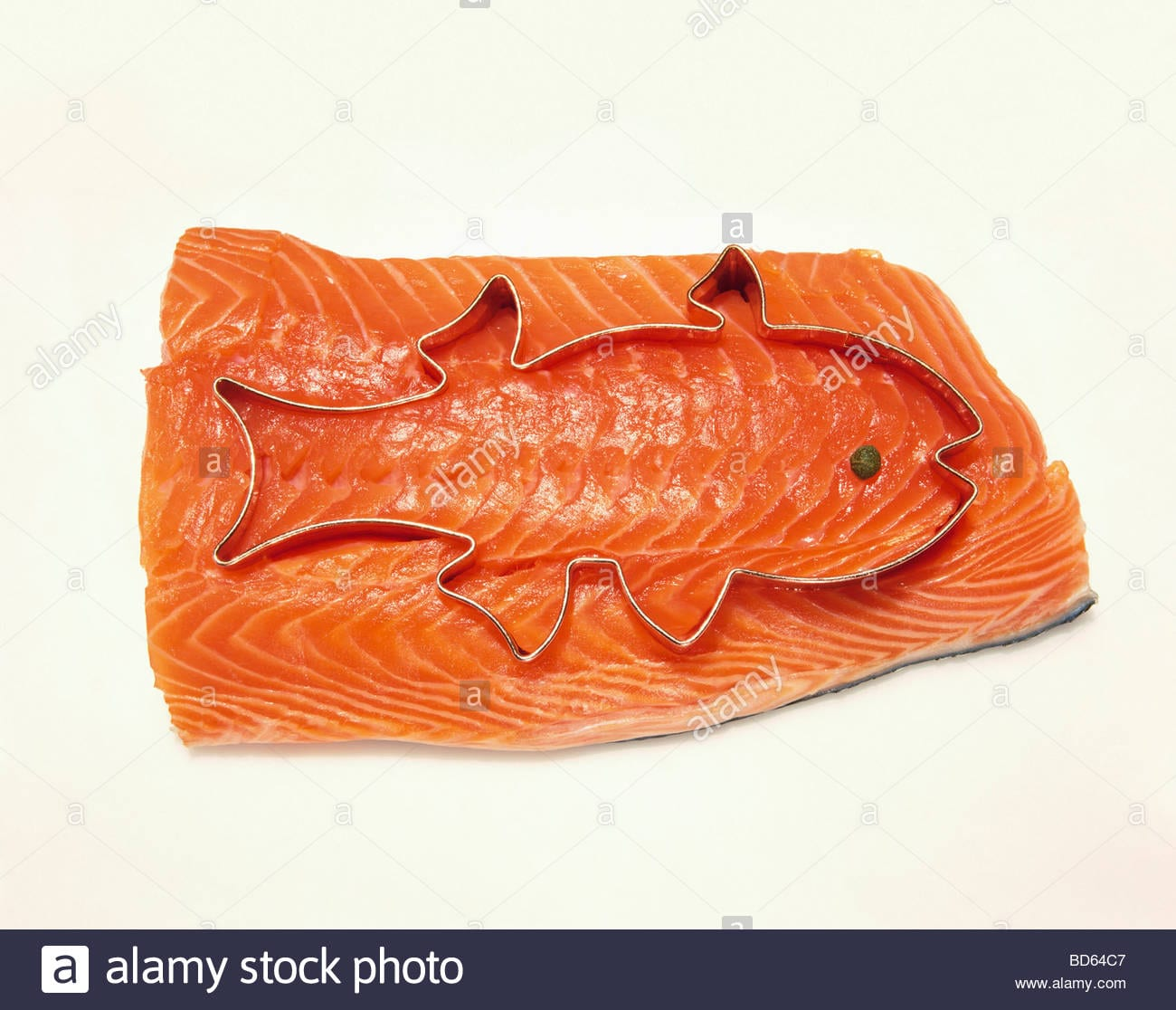 Salmon Fillet With A Fish Cookie Cutter; White Background Stock