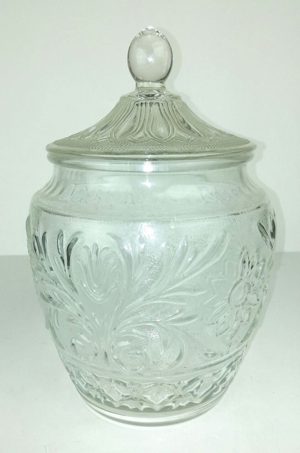 Sandwich Glass Clear Cookie Jar Floral Leaves 11  Tall Vintage