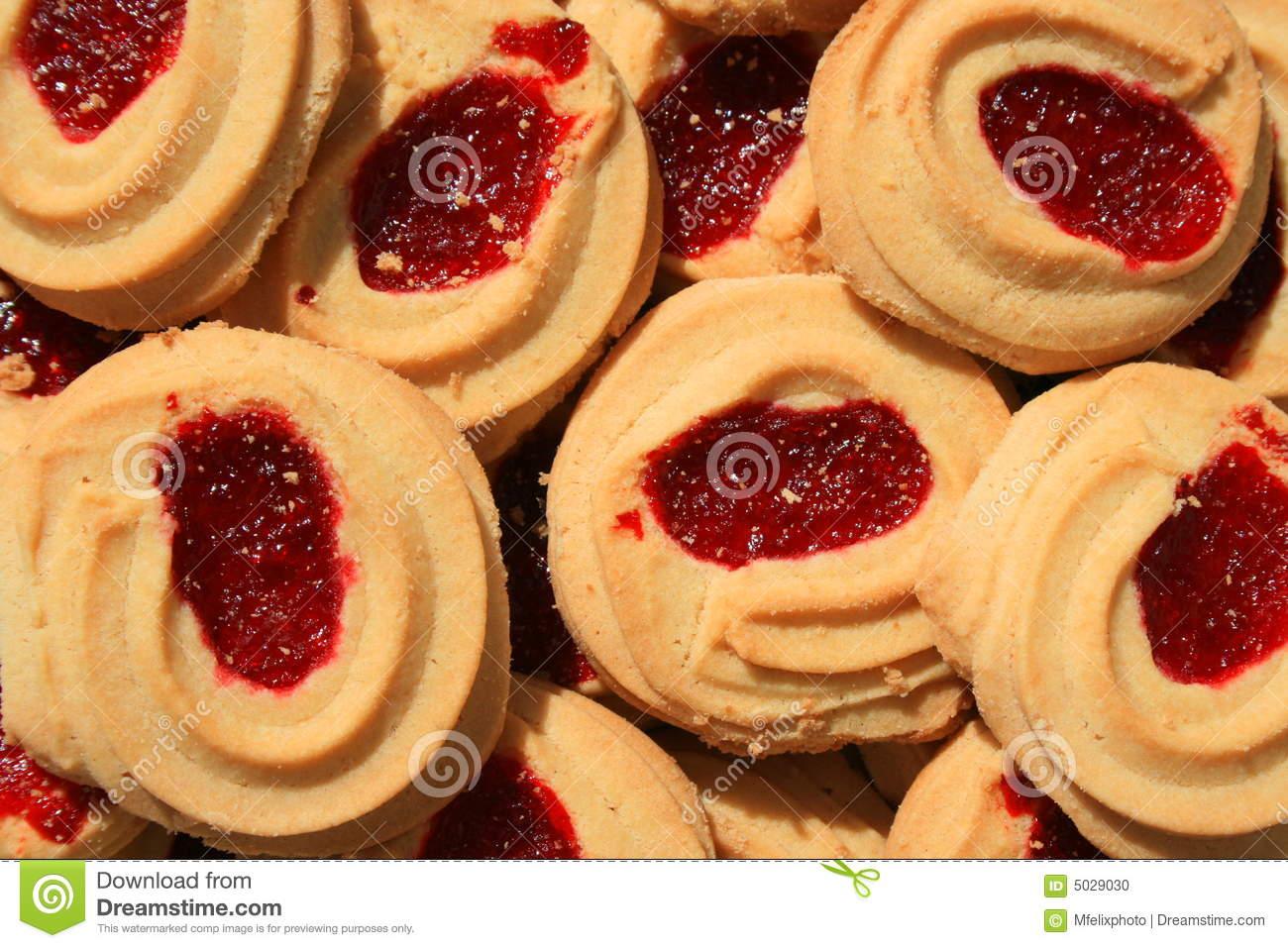 Strawberry Shortbread Cookies Stock Photo