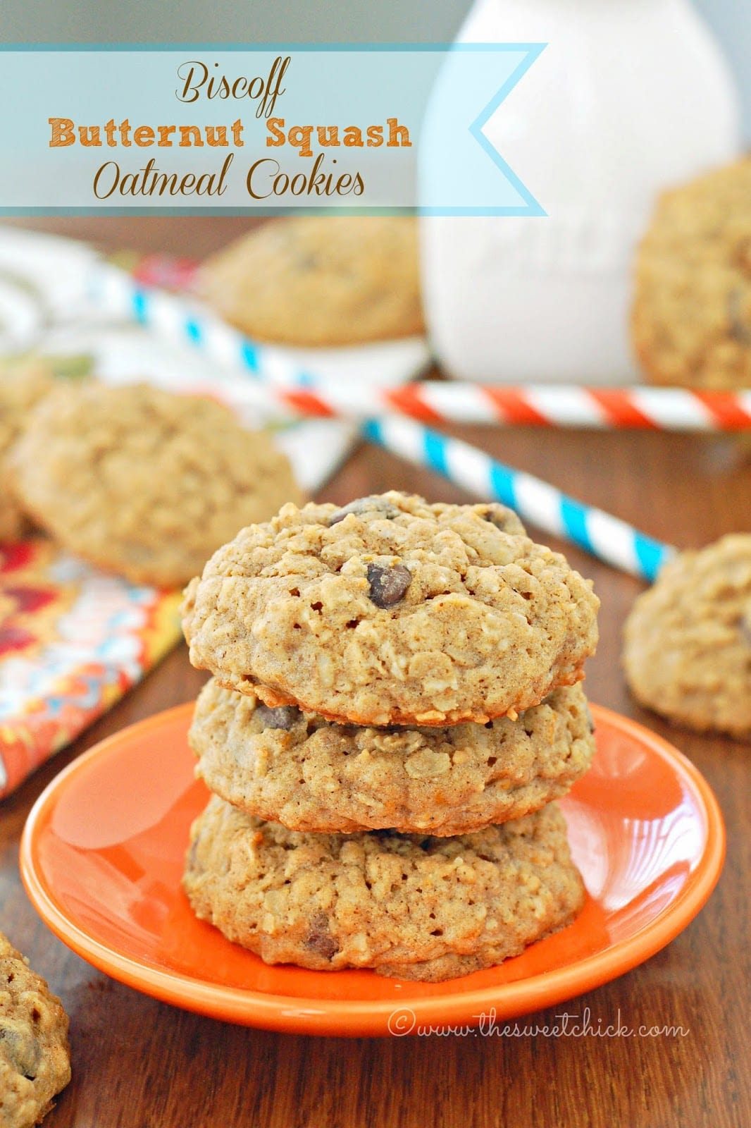 The Sweet Chick  Biscoff Butternut Squash Oatmeal Cookies