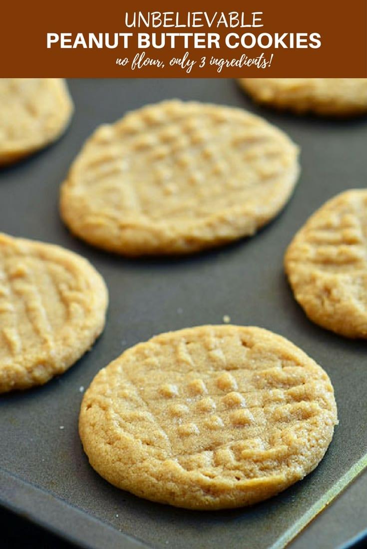 Unbelievable Three Ingredient Peanut Butter Cookies