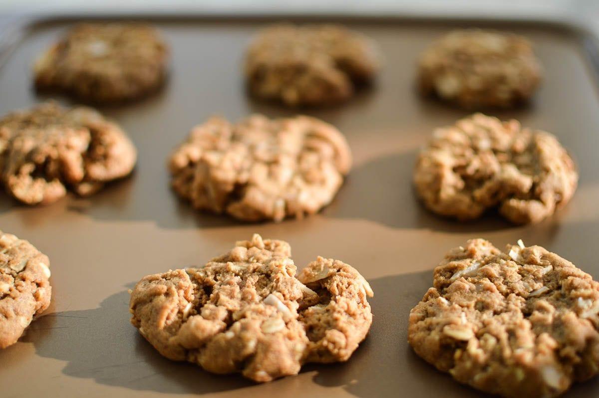 Whole Wheat Peanut Butter Oatmeal Coconut Cookies