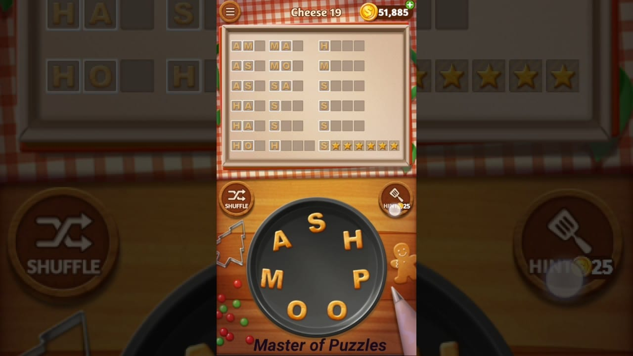 Word Cookies Cheese Level 19 Executive Chef Solved