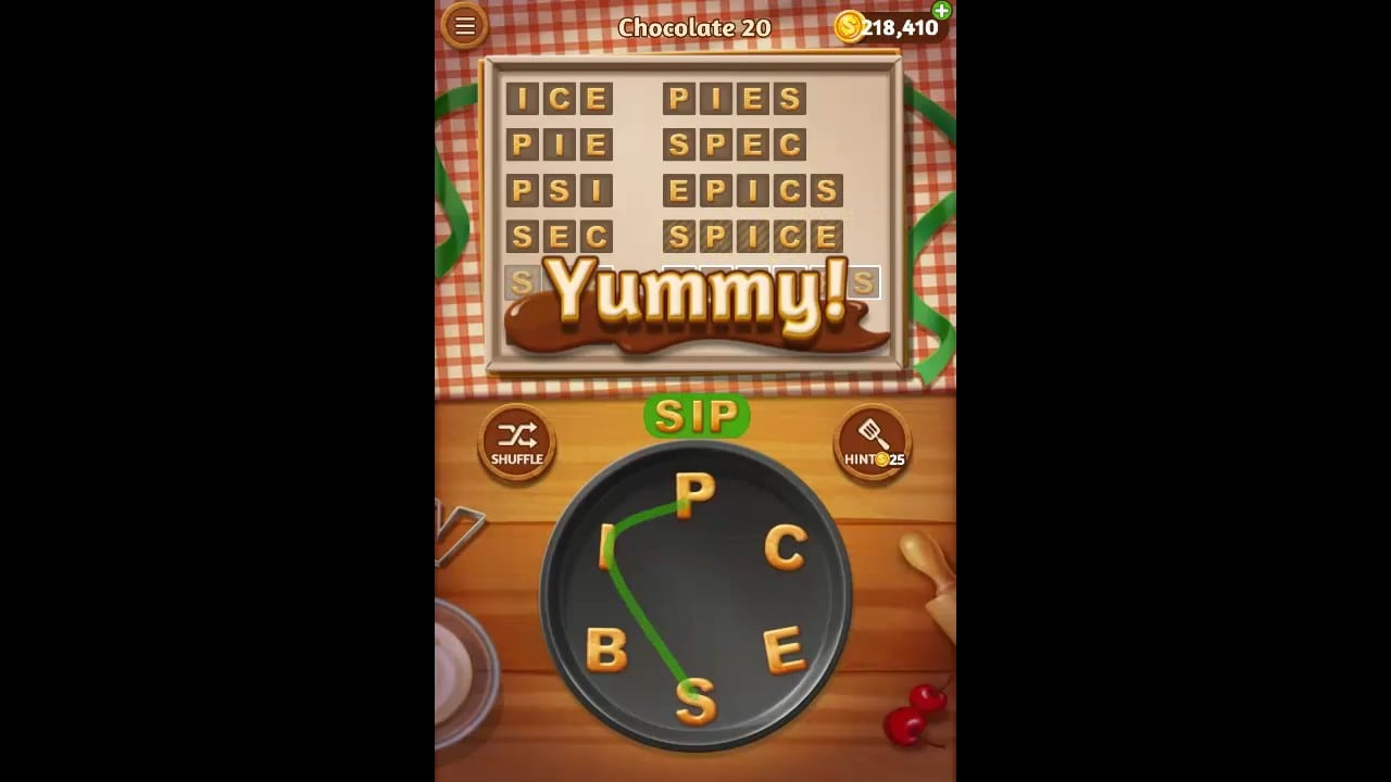 Word Cookies Chocolate Pack Level 20 Answers