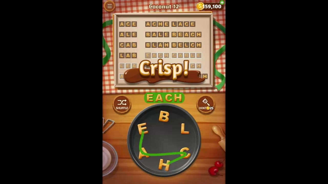 Word Cookies Coconut Pack Level 12 Answers
