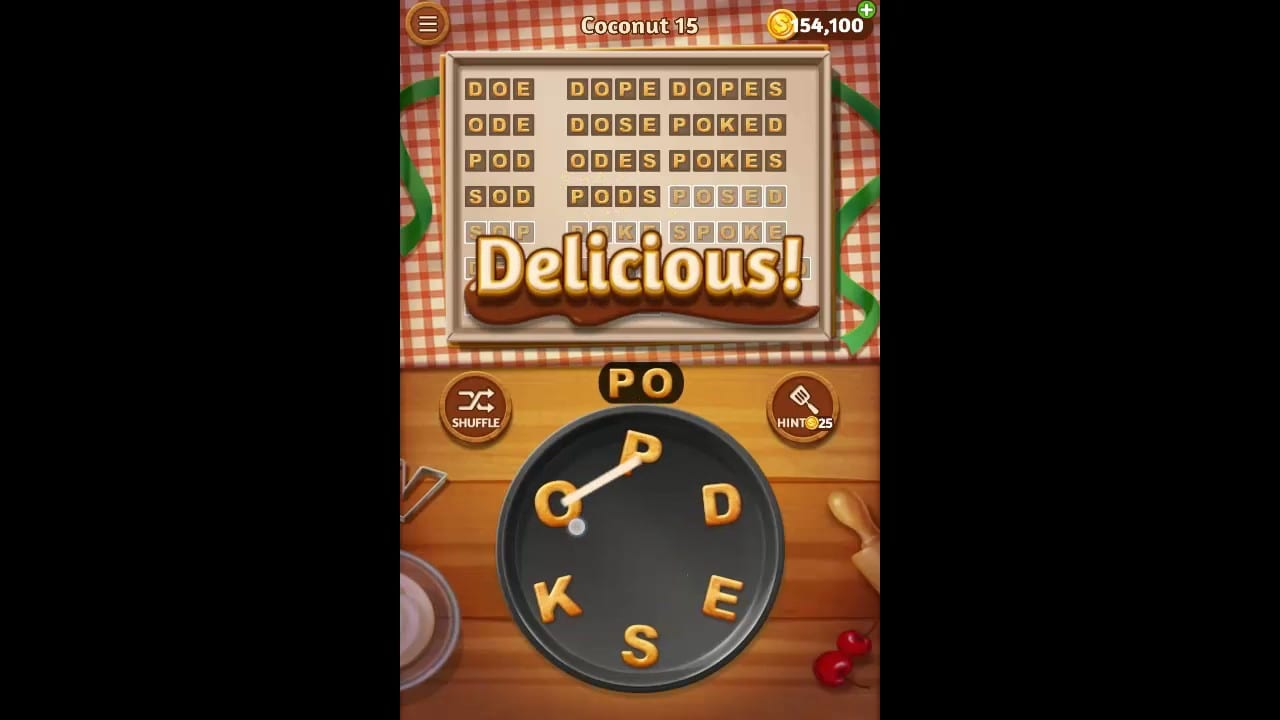 Word Cookies Coconut Pack Level 15 Answers