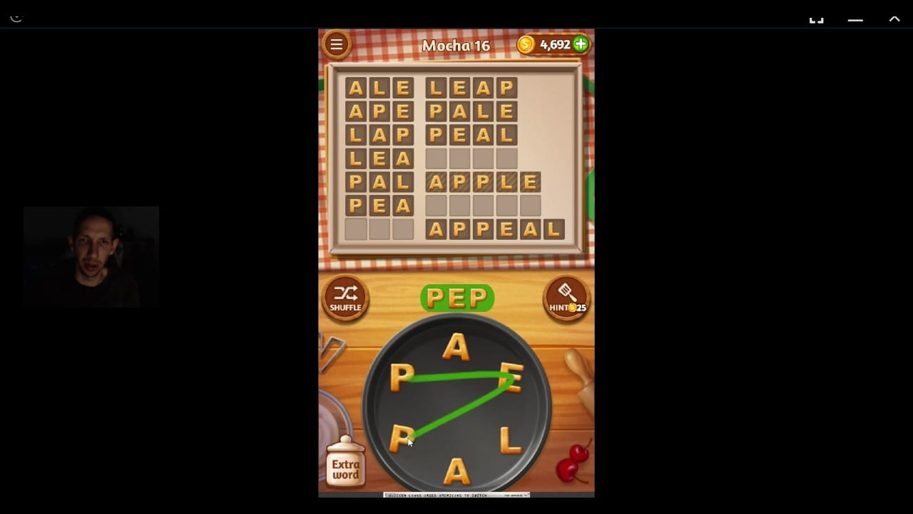 Word Cookies, Commis Chef, Mocha (updated) Level 16 Solved