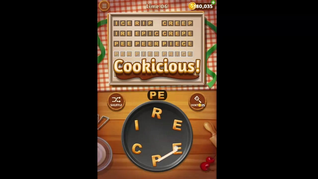 Word Cookies Lime Pack Level 6 Answers